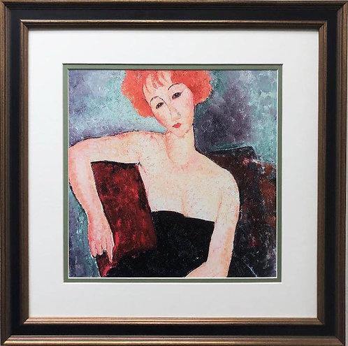 "Amedeo Modigliani ""Redheaded Girl in Evening Dress"" CUSTOM FRAMED ART"