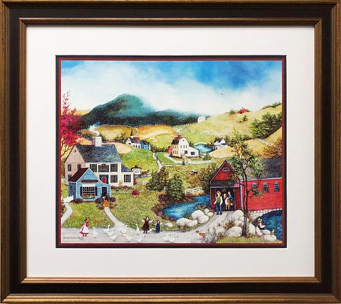 "Linda Nelson Stocks ""Day at the Village"" FRAMED Art"