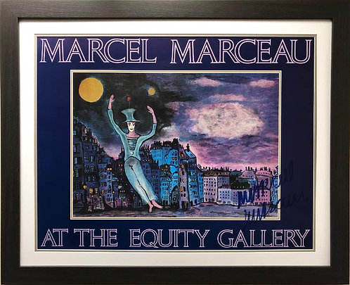 """Marcel Marceau """"The Mime"""" Hand Signed Framed Poster"""