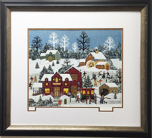 "Jane Wooster Scott ""A Winter Long Ago"" New Custom FRAMED Lithograph Hand Signed"