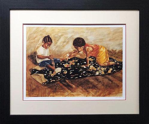 """Alonzo Adams """"Blocks"""" CUSTOM FRAMED Hand Signed Art"""