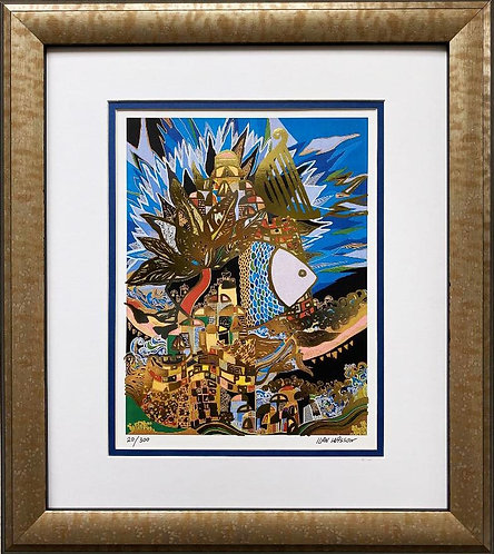 "Ilan Hasson ""David's Harp"" FRAMED Signed & # Art"