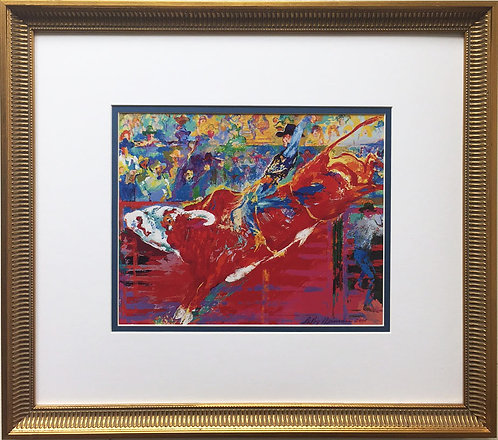 "LeRoy Neiman ""Bull Rider on Red Wolf"" Newly Custom FRAMED ART PRINT Rodeo Riding"