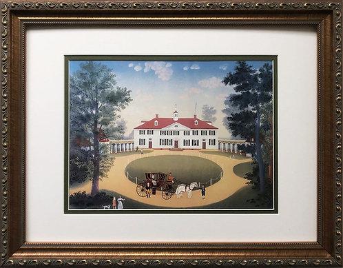"Michel Delacroix ""Mount Vernon""  CUSTOM FRAMED New Primitive Art Chateau France"