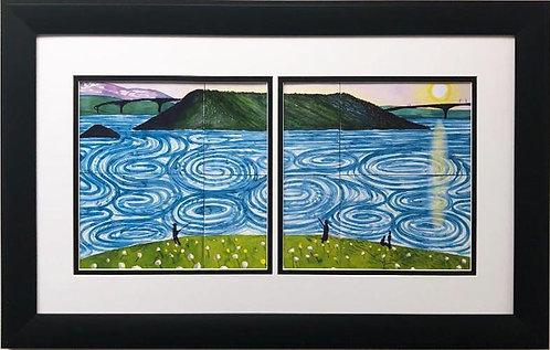 "David Hockney ""The Maelstrom, Bodo"" Custom Framed Art Diptych"