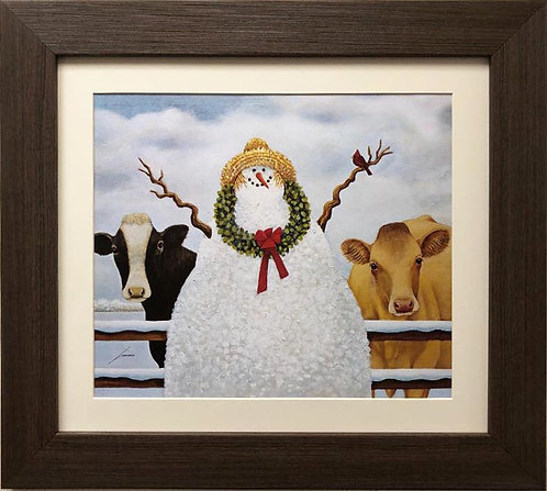"Lowell Herrero ""Christmas Gathering"" New CUSTOM FRAMED Art"