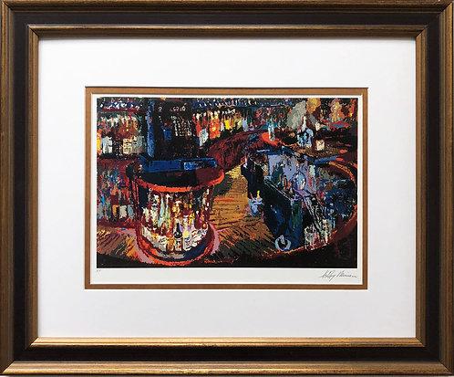 """LeRoy Neiman """"Rush Street Bar '84"""" CUSTOM FRAMED ART NEW Bartender Liqueur"""