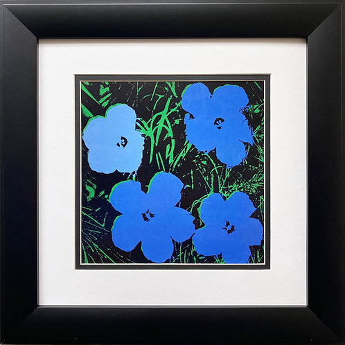 "Andy Warhol ""Flowers"" 1964 (green & blue ) CUSTOM FRAMED Pop Art Litho"