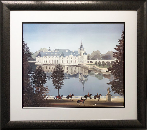 "Michel Delacroix ""La Chateau de Chantilly"" Custom Framed  Paris France Litho"