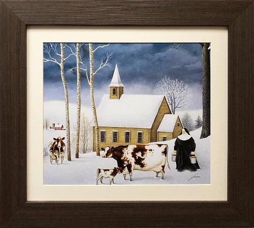 """Lowell Herrero """"Winter Milking"""" New CUSTOM FRAMED Art"""