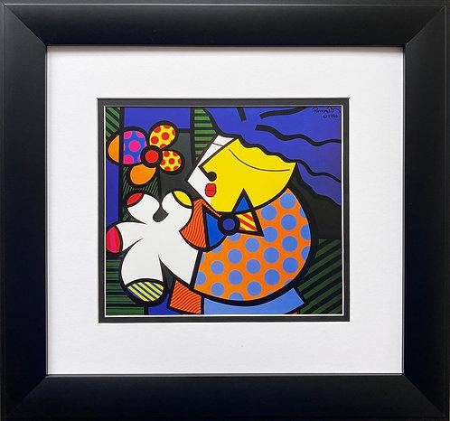 "Romero Britto ""Untitled (Man with Flower)""CUSTOM FRAMED Pop Art"