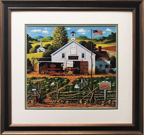 "Charles Wysocki ""Catchin' Bugs"" New CUSTOM FRAMED Art"