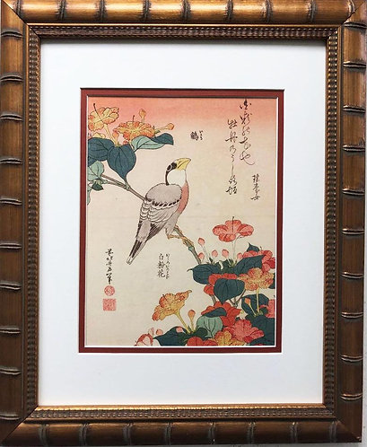 "Katsushika Hokusai ""Mirabilis Jalapa & Grosbeak"" New Custom Framed Asian Art"