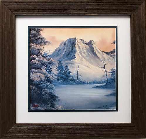 "Bob Ross ""Snowy Mountains"" Happy Trees CUSTOM FRAMED ART Nature Snow Scene Print"
