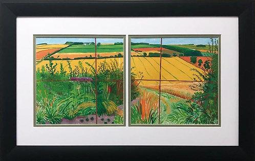 "David Hockney ""The Road to Thwing"" Custom Framed Art Diptych"