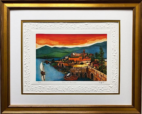 "Amram Ebgi ""Sea of Galilee"" FRAMED Hand Signed & # Litho with Entaglio Art"
