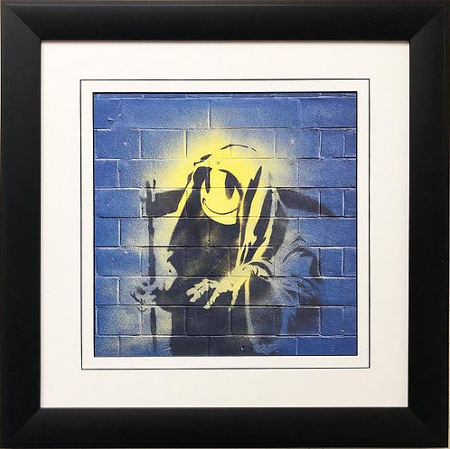 "BANKSY ""Smiley Grim Reaper"" New FRAMED Art"