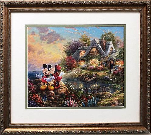 "Thomas Kinkade ""Mickey & Minnie Sweetheart Cove"" New FRAMED Art Print"