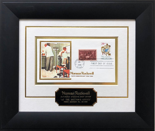 "Norman Rockwell ""At the Doctor's Office"" First Day Stamp Limited Edition Framed"