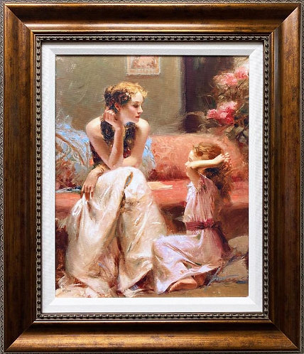 "Pino Daeni ""Thinking of You"" Signed & # CUSTOM FRAMED Art on Canvas"