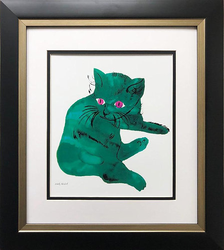 "Andy Warhol "" Green Cat"" 1954 CUSTOM FRAMED Pop Art"