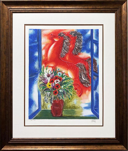 "Reuven Rubin "" Red Horses"" FRAMED Plate Signed Limited Edition Israeil Art"