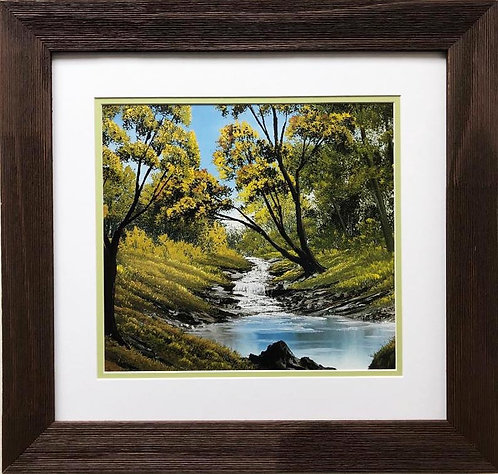 """Bob Ross """"Little Valley of Stream""""  CUSTOM FRAMED ART"""