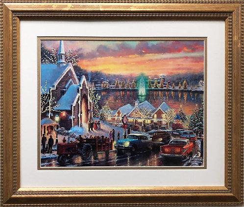 "Thomas Kinkade ""The Lights of Christmas town"" New CUSTOM FRAMED Art"