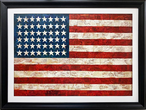 "Jasper Johns ""Flag"" FRAMED Iconic Pop Art"