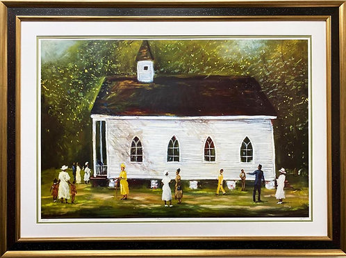 "Ted Ellis ""Grandma's Church"" Hand Signed & # FRAMED African American Art"