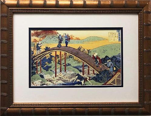 "Katsushika Hokusai ""People on Bridge"" 1830 New Custom Framed Asian Art"