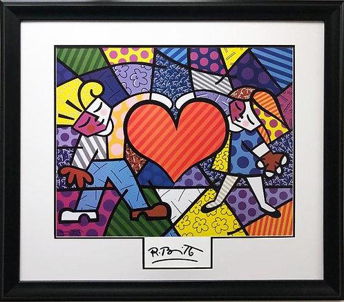 "Romero Britto ""Heart Kids"" (lg) NEWLY CUSTOM FRAMED Art Print"