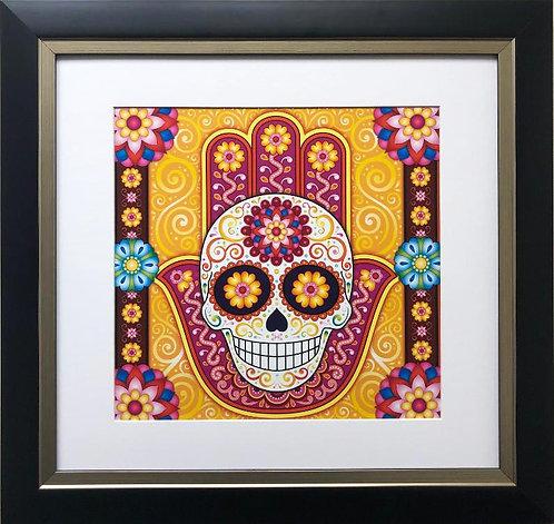 """Thaneeya McArdle """"Sugar Skull Hamsa"""" FRAMED Art"""