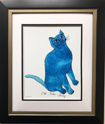 """Andy Warhol """"One Blue Pussy"""" 1954 CUSTOM FRAMED Pop Art"""