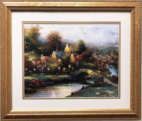 """Thomas Kinkade """"Lamplight Village"""" New CUSTOM FRAMED Art"""