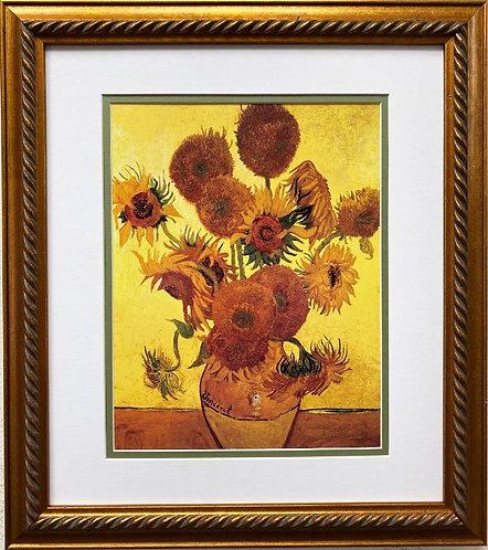 "Van Gogh ""Sunflowers on Gold, 1888"" Framed Art Print"