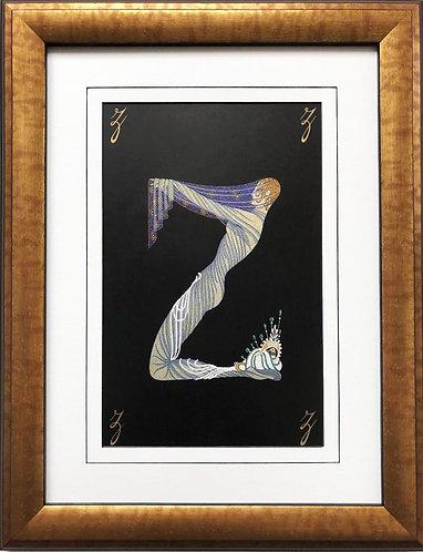 """Erte """"Z"""" CUSTOM FRAMED Vintage Print Art Deco Alphabet Letter Suite"""