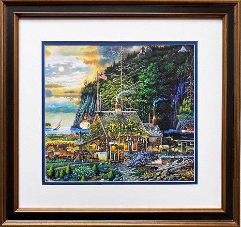 """Charles Wysocki """"Moonlight and Roses in Olde Maine"""" New CUSTOM FRAMED Art"""