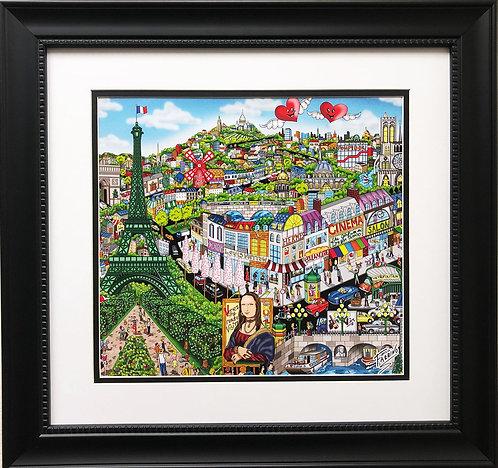 "Charles Fazzino ""Come Visit Me in Paris"" Custom Framed Art Print"