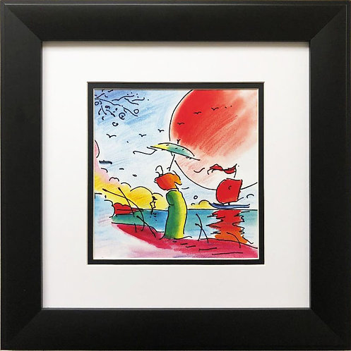 "Peter Max ""Man With Umbrella at Sunset"" New FRAMED Art"