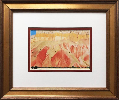 "Georgia O'Keeffe ""Red and Yellow Cliffs"" Art Print Custom Framed New"