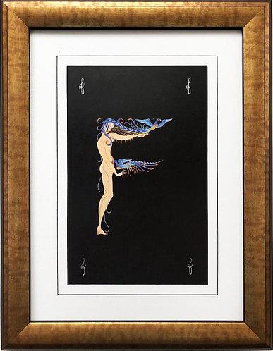 """Erte """"F"""" CUSTOM FRAMED Vintage Print Art Deco Alphabet Letter Suite"""