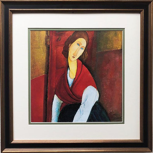 "Amedeo Modigliani ""Jeanne Hebuternet in Red Shawl"" CUSTOM FRAMED ART"