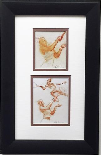 "LeRoy Neiman ""Venus and Serena Williams"" Newly CUSTOM FRAMED Art Print - Tennis"