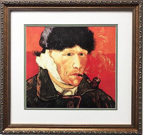 """Vincent Van Gogh """"Self Portrait with Bandaged Ear & Pipe"""" FRAMED ART"""