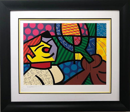 "Romero Britto ""Tennis Suite-Boy"" Hand Signed & # CUSTOM FRAMED Pop Art"
