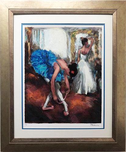 """Hadva Ferenci """"Blue Dancer"""" FRAMED Signed Serigraph Art"""