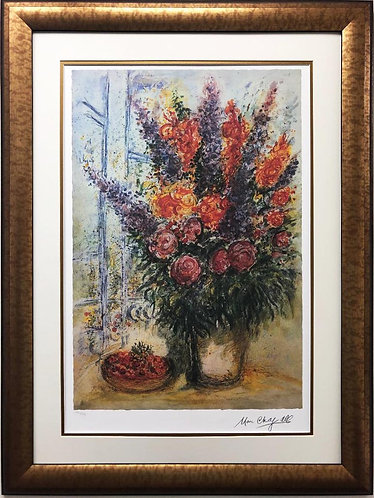 """Marc Chagall """"Bowl of Cherries"""" Framed Art Limited Offset Lithograph"""