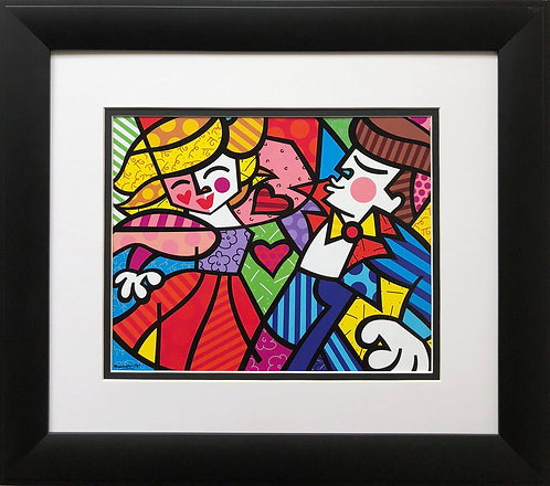 "Romero Britto ""Swing"" NEWLY CUSTOM FRAMED Art Print - POP Dancing Dance Music"