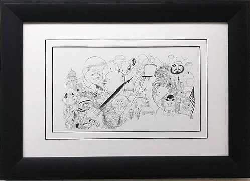 "Al Hirschfeld ""World Leaders '62"" CUSTOM FRAMED Decorative ART Print"